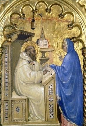 Detalle aparición de la Virgen a San Bernardo. Giovanni da Milano, Museo Cívico, Italia. 1353-1363